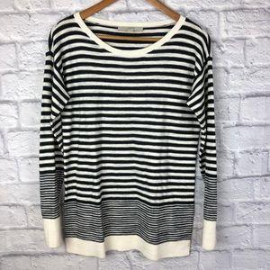 Loft Lightweight Navy and Ivory Striped Sweater